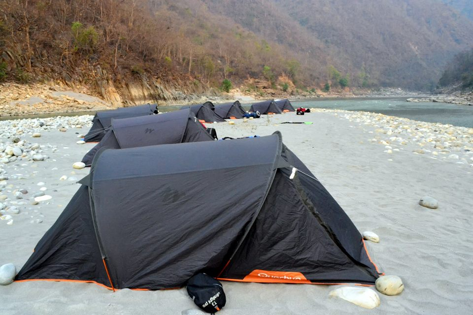 Beautiful Campsite, located at the confluence of the Rivers Sarayu and Kali./ Photo Courtesy: Expeditions India