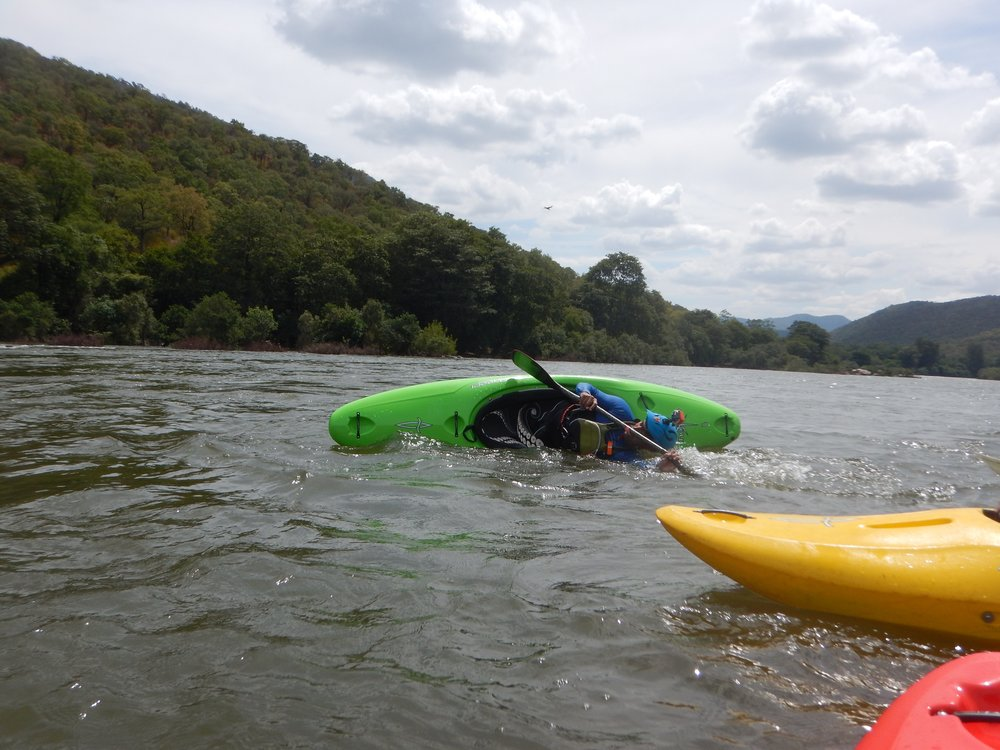 Demonstrating the awesome secondary stability of the newmad, a hallmark of the Nomad line of kayaks.