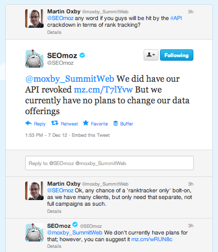 SEOmoz Google Analytics API Tweet