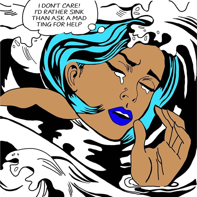 """MAD TING"" is something really better than nothing?  Based on the original ""drowning girl"" by the don dada Roy Lichtenstein.  DROWNING series 2 of 3"