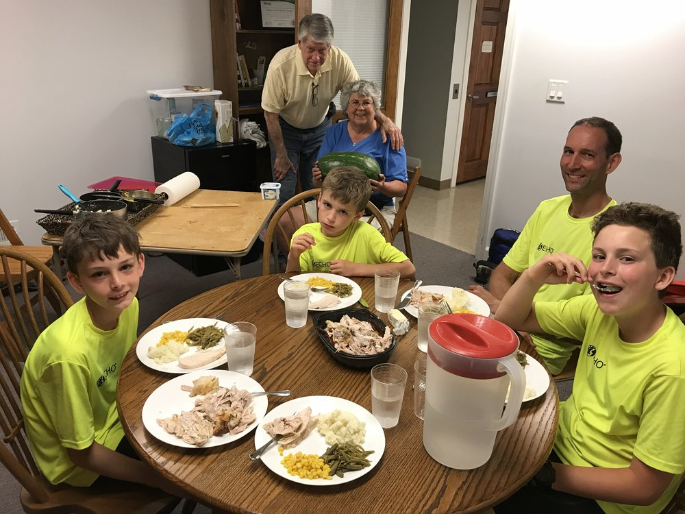 Gerry and Cindy and the yummy meal they provided for us at Palmyra United Methodist Church.