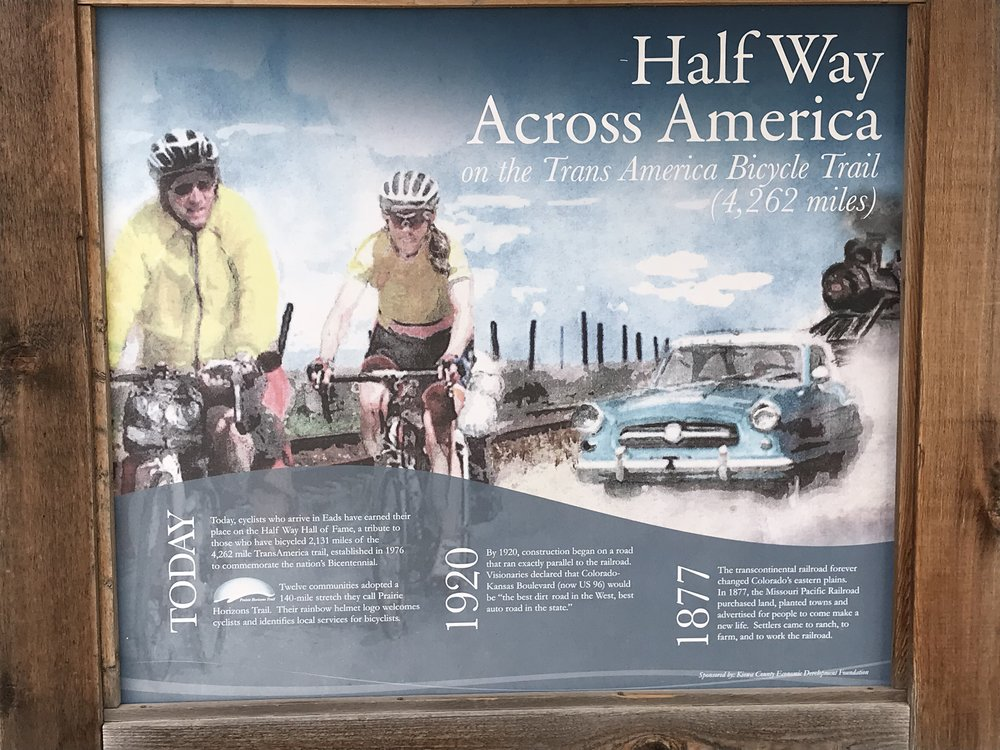 in Eads, CO, we realized that we were at the half-way point on the TransAmerica Trail!
