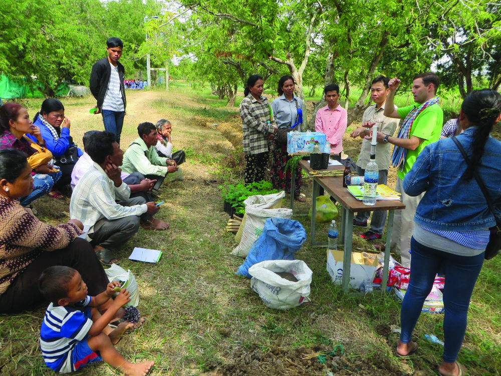 ECHO's Dr. Bicksler, along with UTIA researchers, delivered a workshop to 50 farmers at the University of Battambang's farm.