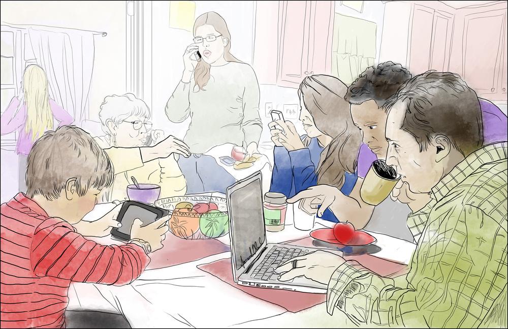 Contemporary Family Dinner  Digital Illustration   2013