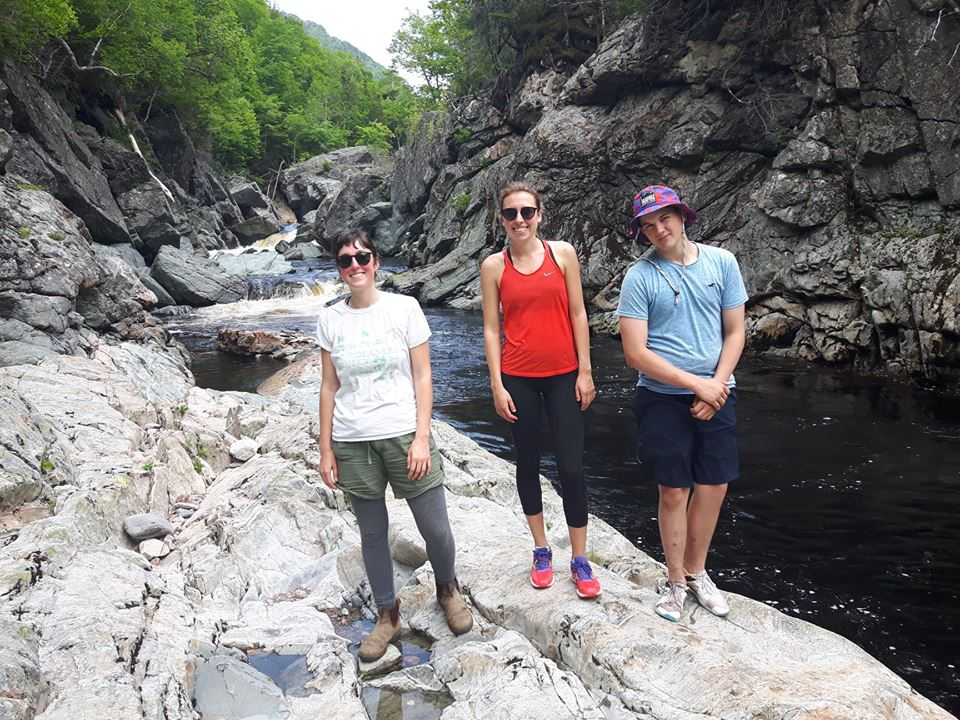 We are very excited to introduce Sarah Lloyd (left) to our summer crew. Sarah will be helping conduct the study and also contribute to river restoration work throughout the summer. This photo was taken at the upper pools of the Cheticamp River where the team installed several temperature probes.