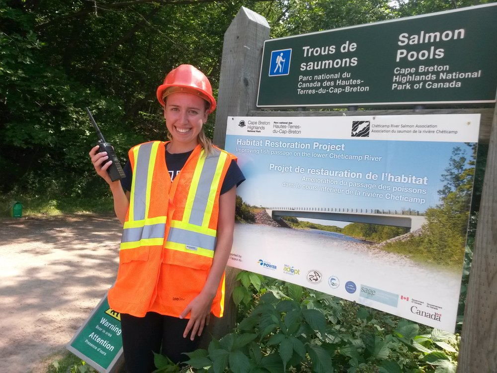 Catherine Thompson, CRSA's Crew Supervisor for its student habitat restoration work crew, was on site to help with traffic control during this year's instream work on the Cheticamp River.