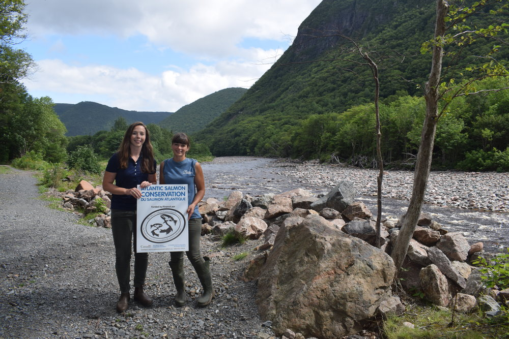 Allyson Heustis with the Atlantic Salmon Conservation Foundation (left) and Jillian Baker, CRSA's Project Manager, during a site visit this summer.