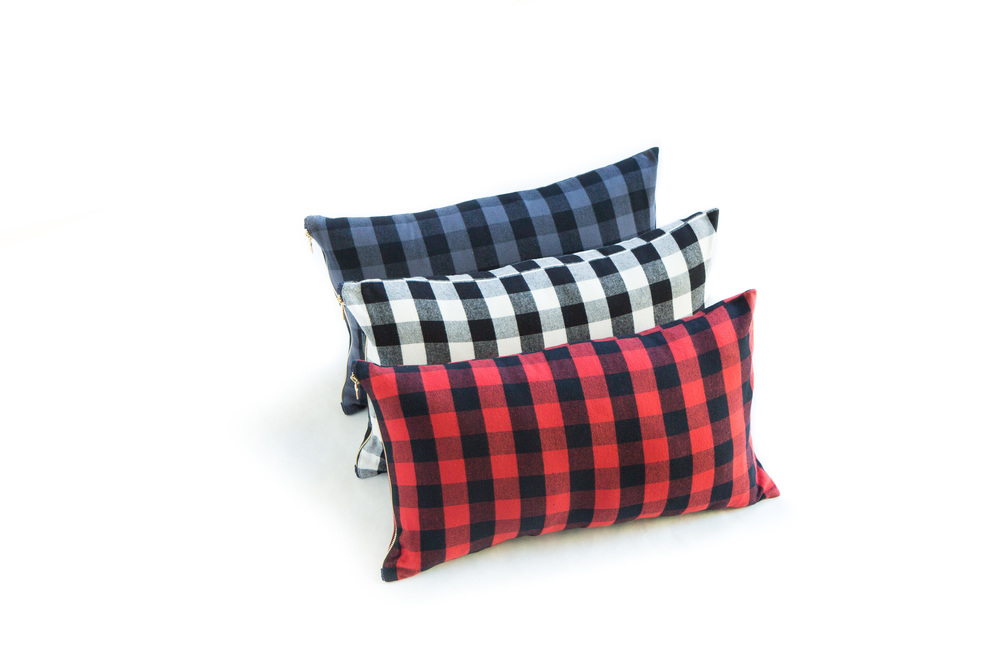 Slate, White, and Red Buffalo Check Pillows in 12x21""