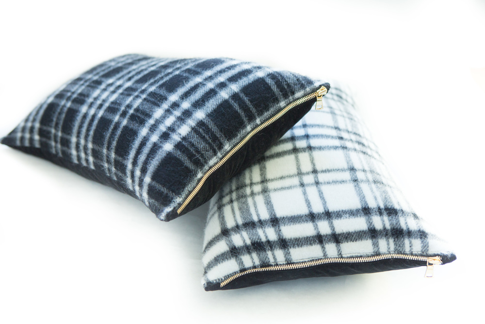 "Black Plaid and White Plaid Pillow in 12""x21"""