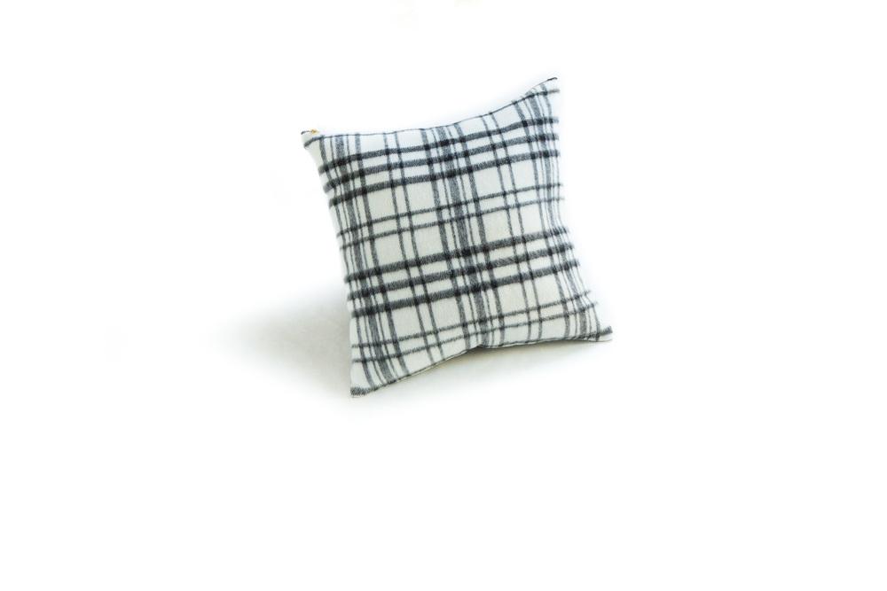 "White Plaid Wool Pillow 18"""