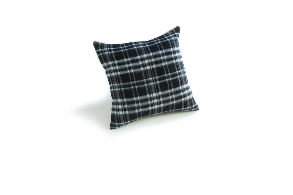 Black Plaid Wool Pillow 18""