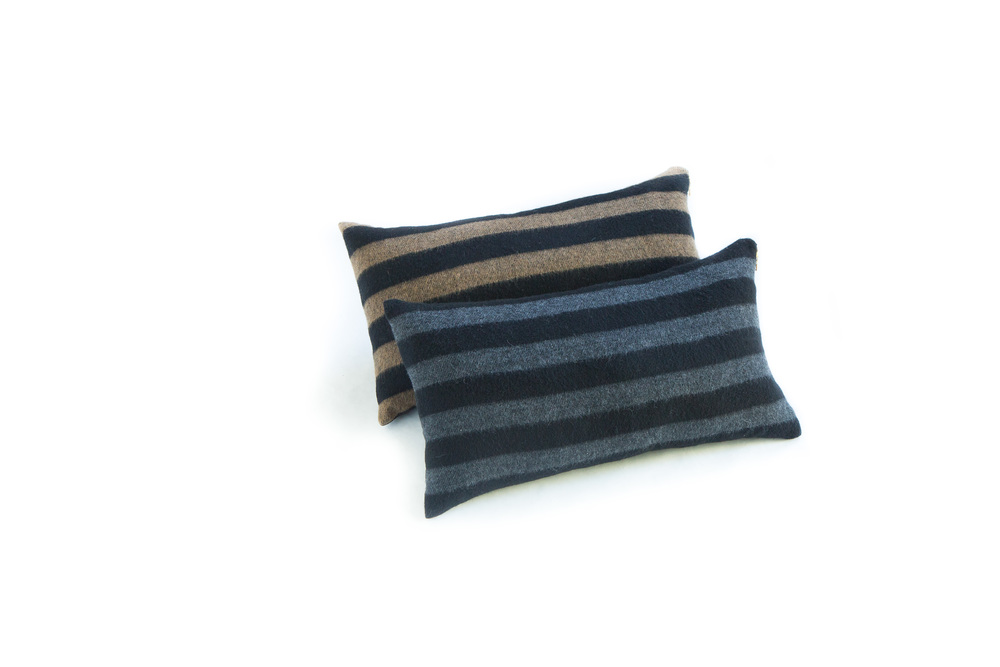 "Camel Striped and Gray Striped Wool Pillows in 12""x21"""