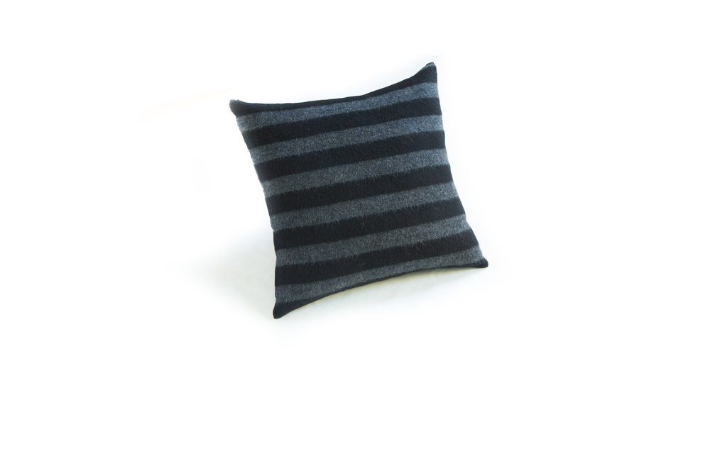 Gray Striped Wool Pillow 18""