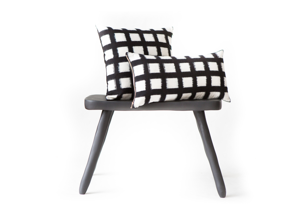 Handwoven Double Ikat Checked Standard and Lumbar Pillows in Black, starting at $84