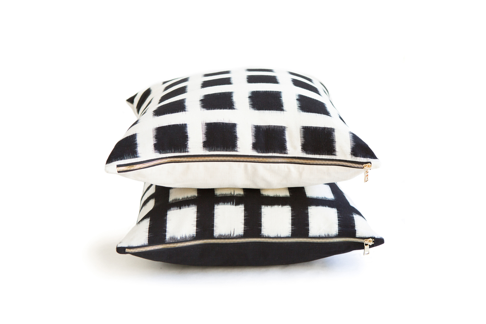 Handwoven Double Ikat Checked Standard Pillows in White and Black, starting at $96