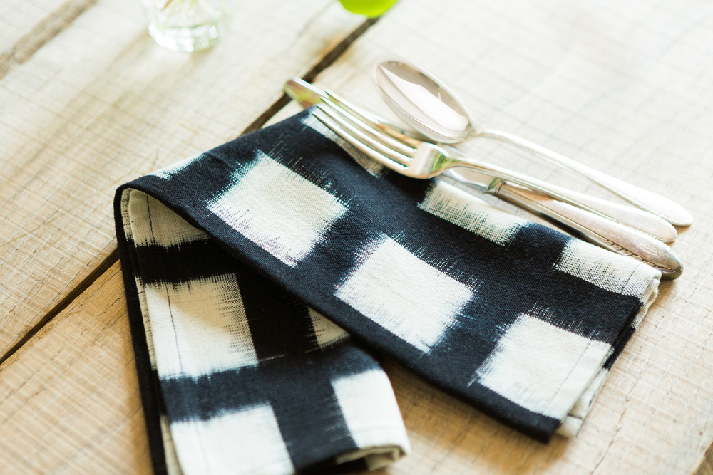 Handwoven Double Ikat Checked Napkin in Black, Set of 2, $48
