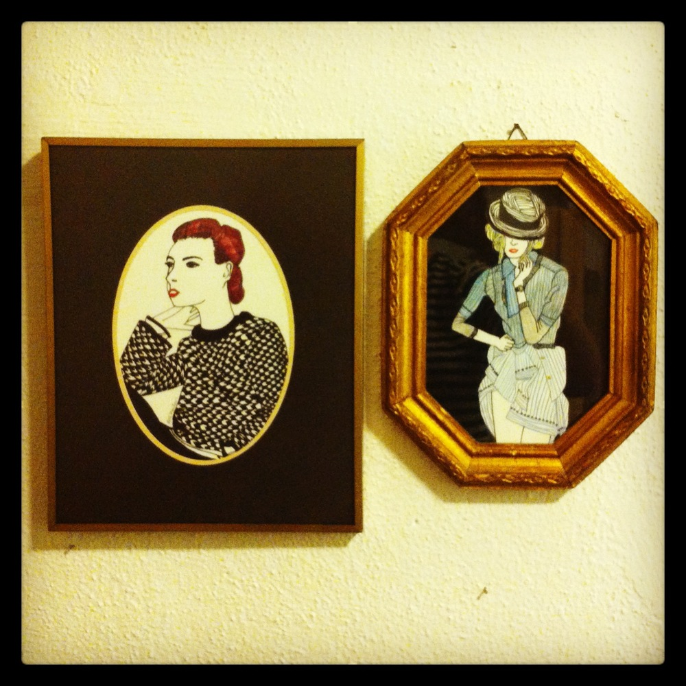 Two Models  ink, marker, and colored pencil on paper, recycled frames