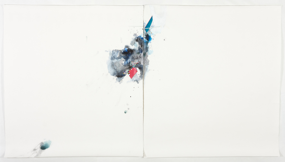 "ursting Down, 2013, mixed media on paper, 60"" x 102"""