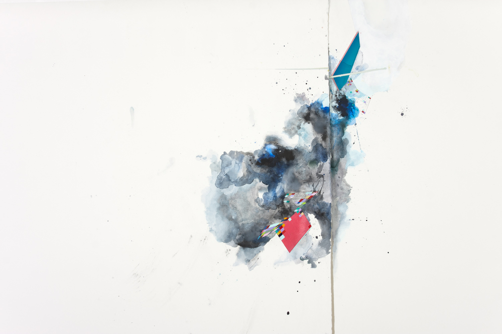 "​Bursting Down (detail), mixed media on paper, 60"" x 102"""