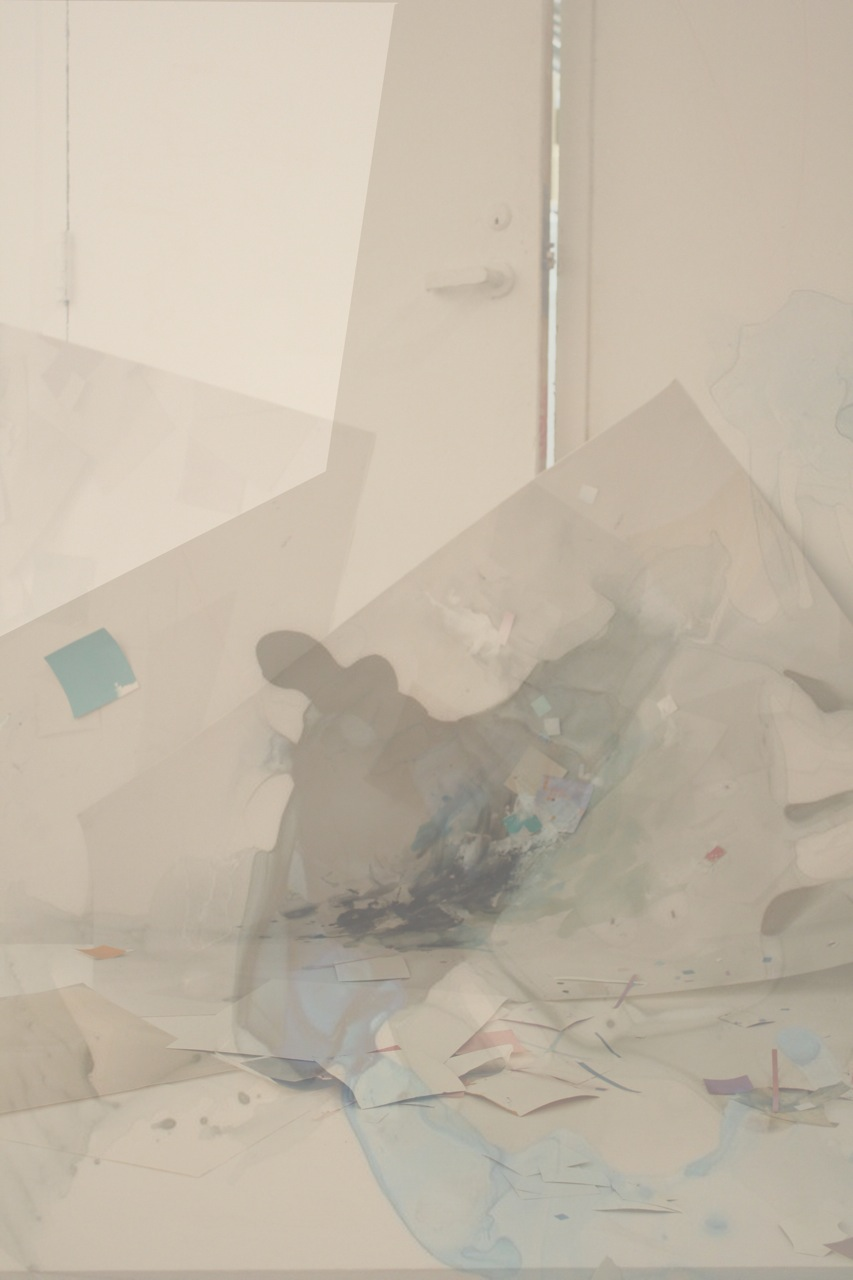 "ccumulate, 2012, paint and graphite on digital print on paper, 35"" x 48"""