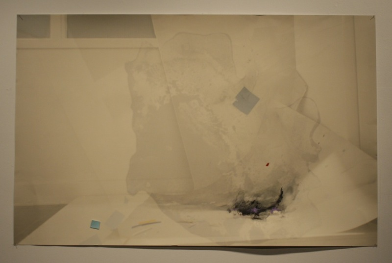 "indow, 2012, paint and graphite on digital print on paper, 48"" x 36"""