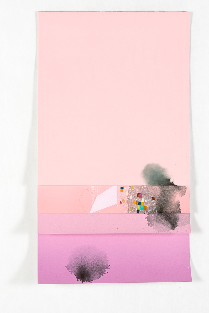 "Stack, 2013, mixed media on paper, 36"" x 14"""