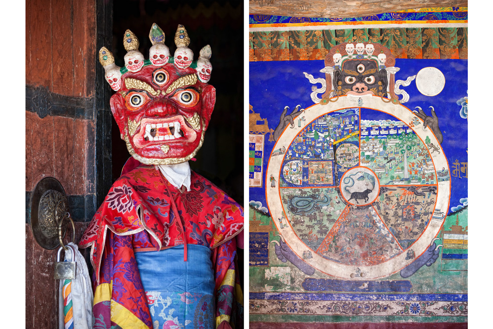 India-Ladakh-Travel-Leh-Thiksey-Buddhist-Monastery-Mask-Mural.JPG