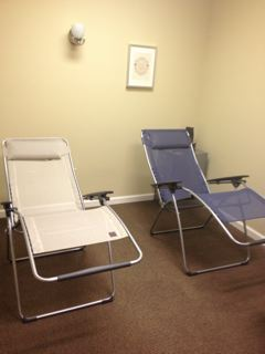 These are the zero gravity chairs that recline--perfect for an acupuncture nap!