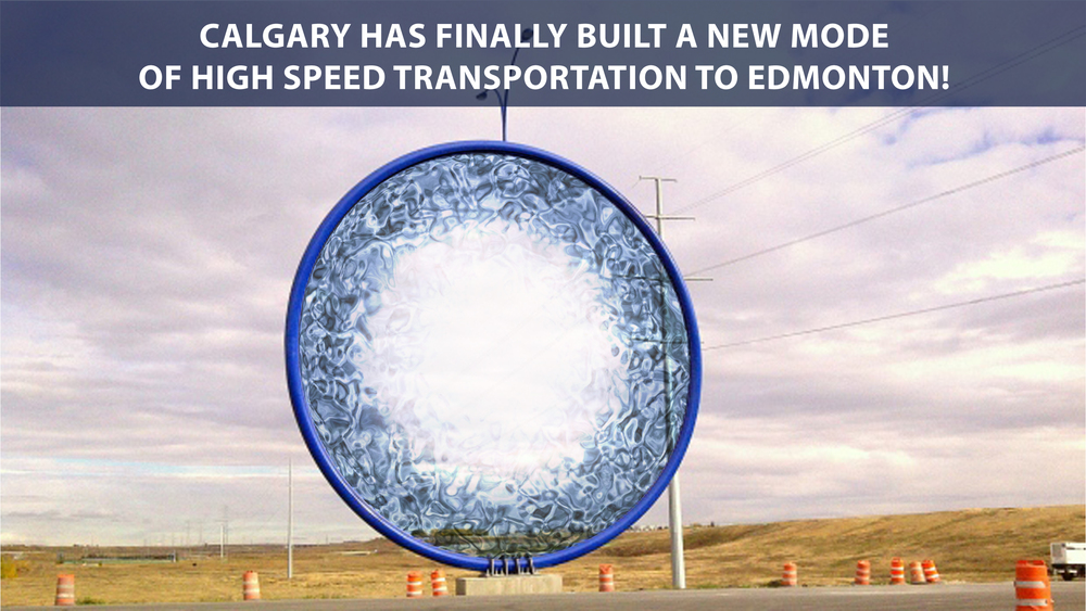 "My interpretation of Calgary's Public Art ""Traveling Light"".  (It's really a Stargate to Edmonton)."