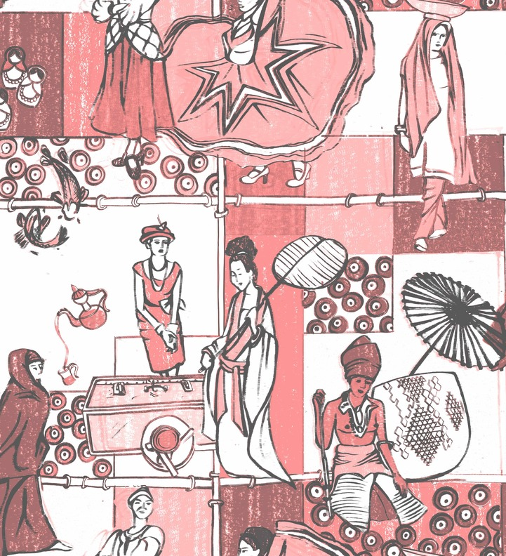 A toile textile collection based on the fashion and traditions of women around the world.