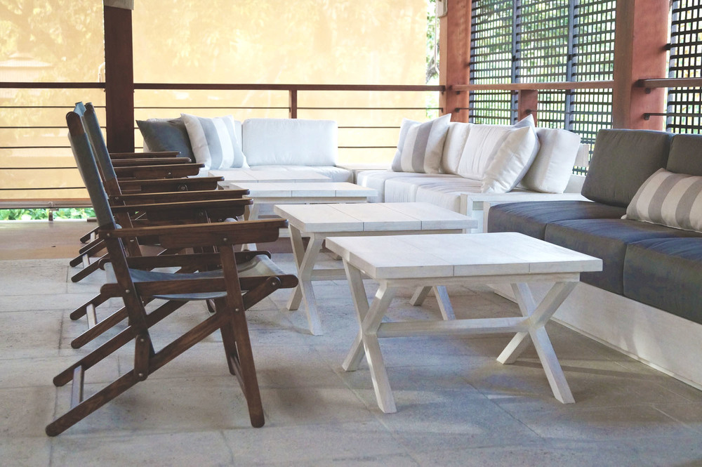 """Custom furniture for lounge in the newly developed """"Las Catalinas"""" beach town in Costa Rica."""