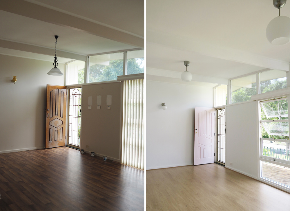 Bright white, lighter floors, new pendants and a pink door!