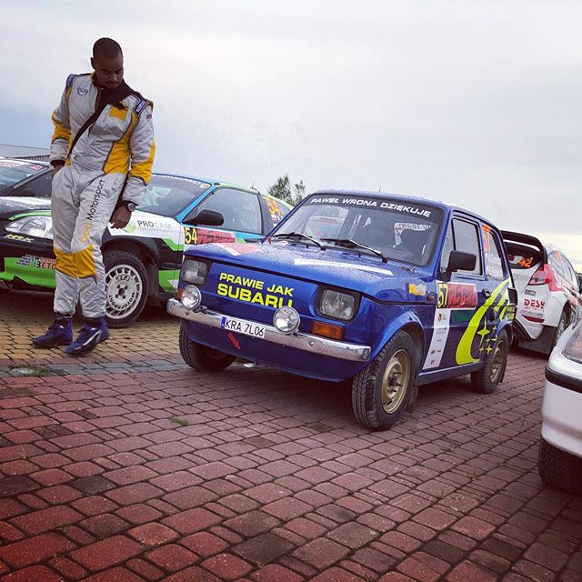 "@alexkihurani inspecting what was hands down the most awesome car from the polish national championship in Parc Ferme this morning!  The text on the front translates roughly to ""Almost a Subaru"" 😂😂 love it!!!"