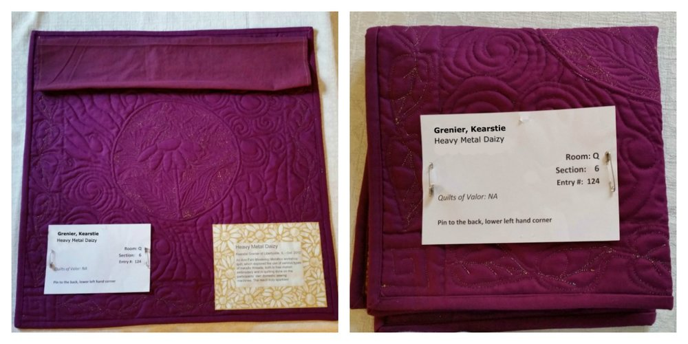 "Left Photo shows the location of the 4"" sleeve at the top of the quilt, the paper ID card at the lower left, and the fabric quilt label at the lower right. Right Photo shows folded quilt with paper ID card on top."