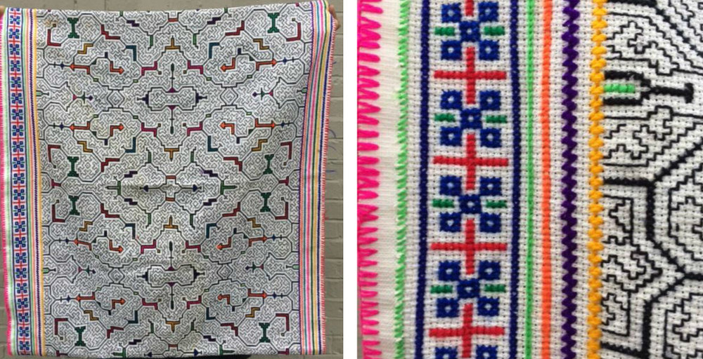 Looking for the origin of this lovely needlework won at this February's Brown Bag Hustle. Close-up on right shows beautiful detail.