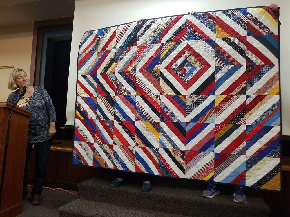 The finished Village Quilters QOV Quilt-a-Thon quilt.