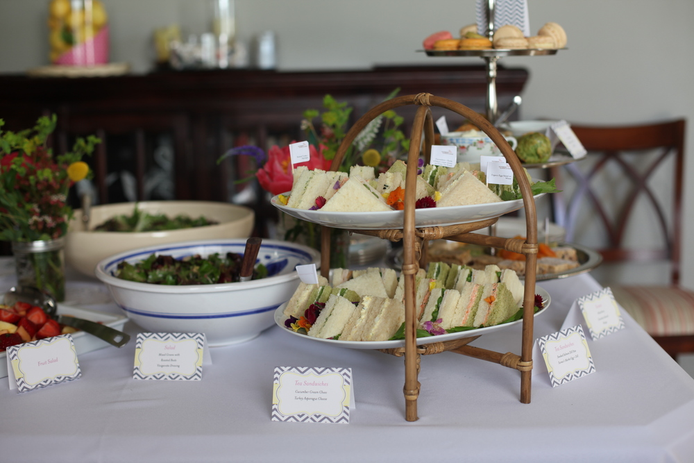 Tea sandwiches along with farmer's market salad for a wedding shower