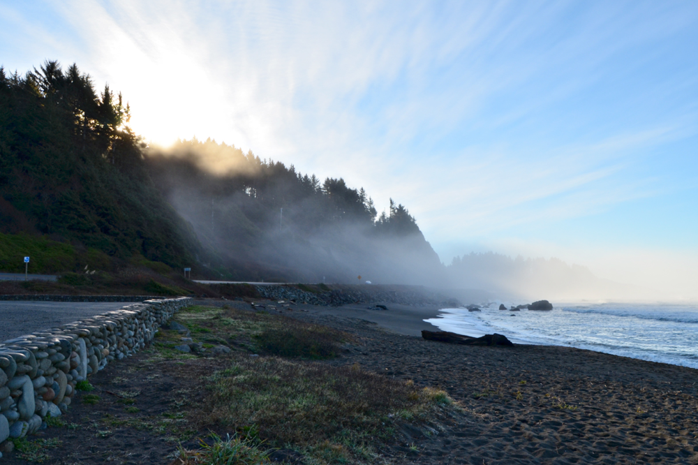 A foggy morning from the turnout at the bottom of Wilson Creek Grade between Crescent City and Klamath, California.