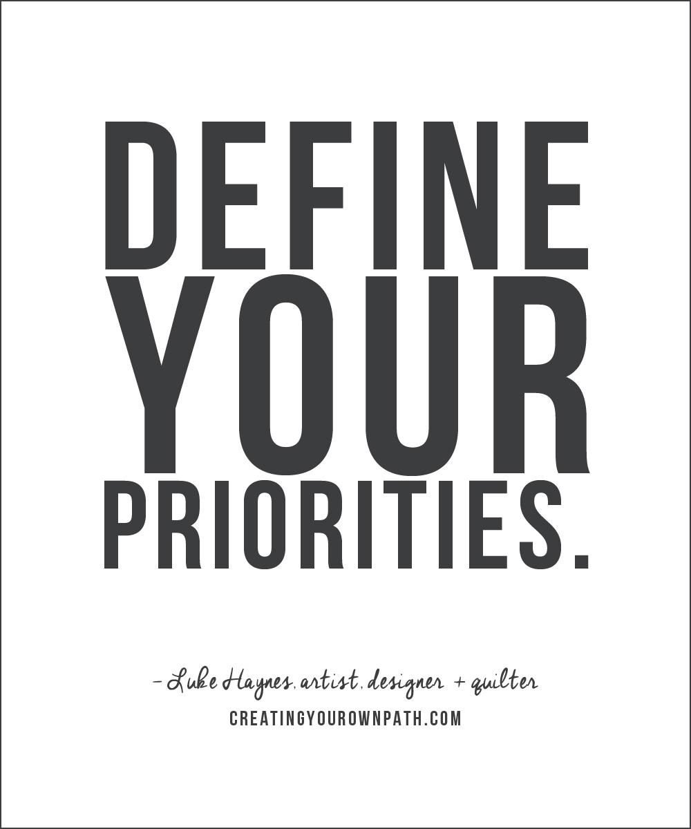"""Define your priorities."" Artist, Designer + Quilter Luke Haynes"