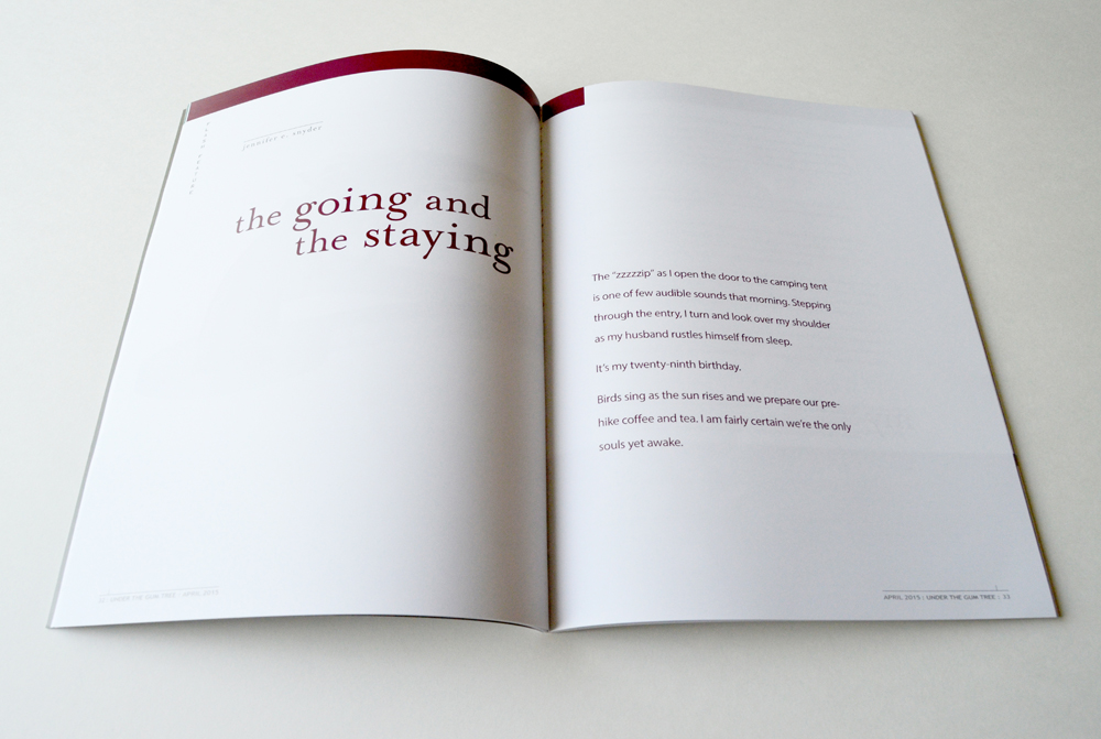 """The Going and the Staying"" -- Jennifer E. Snyder for  Under the Gum Tree"