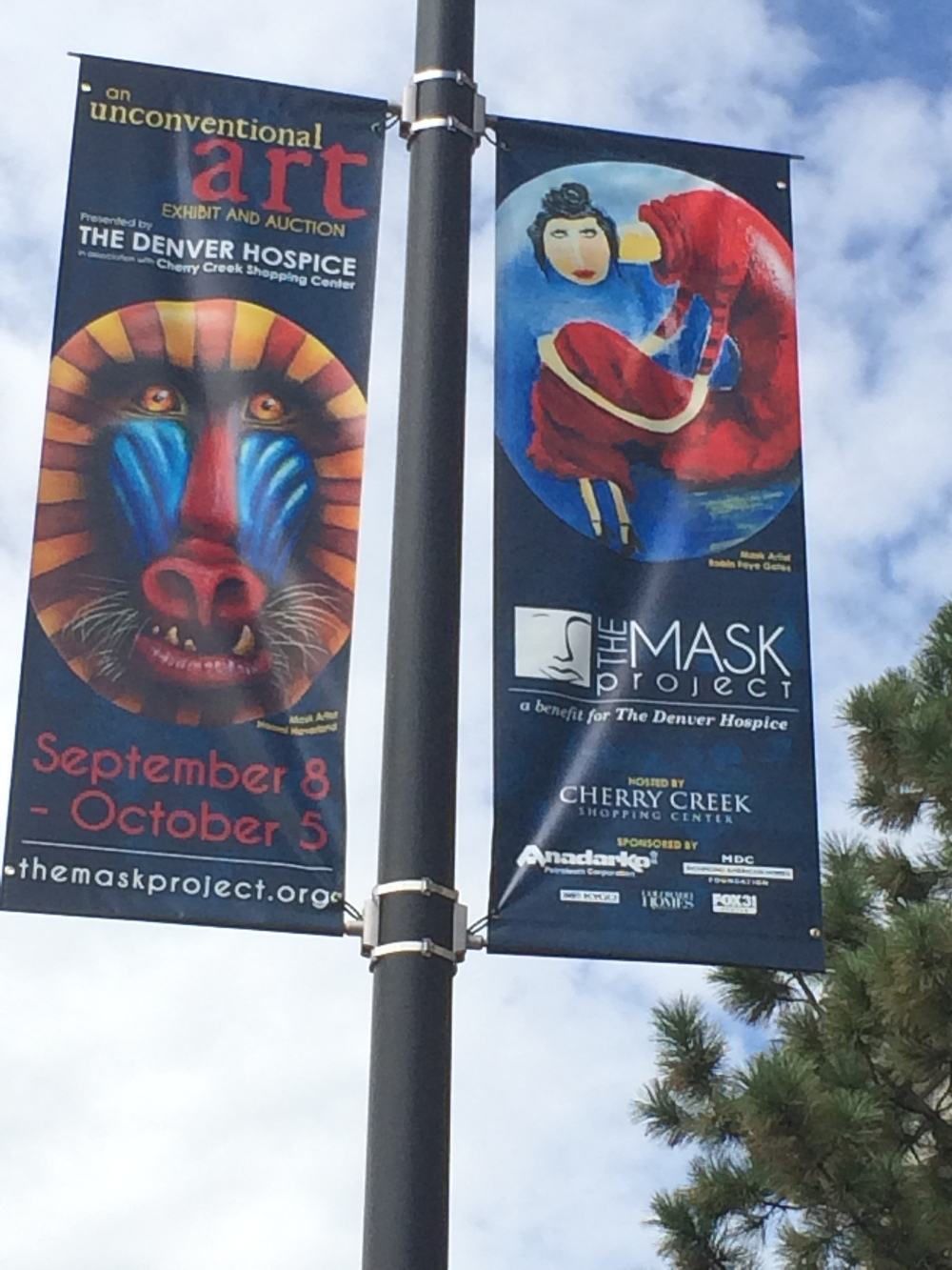 Banners lined The Cherry Creek Shopping Center and Speer Blvd.