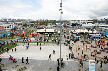 The set-up before the big crowds for the Rugby World Cup FanZone at Wynyard Quarter Auckland Waterfront