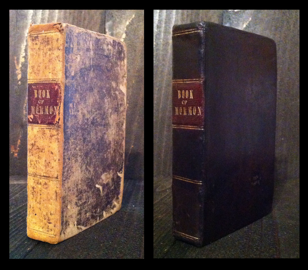 1842 Nauvoo Book of Mormon - before and after restoration.