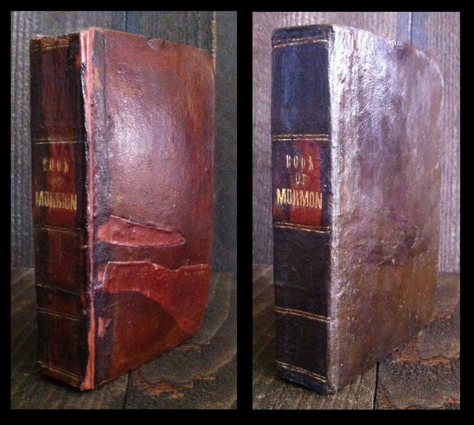 1842 Book of Mormon. Extensive work to repair amateur fixes done previously.