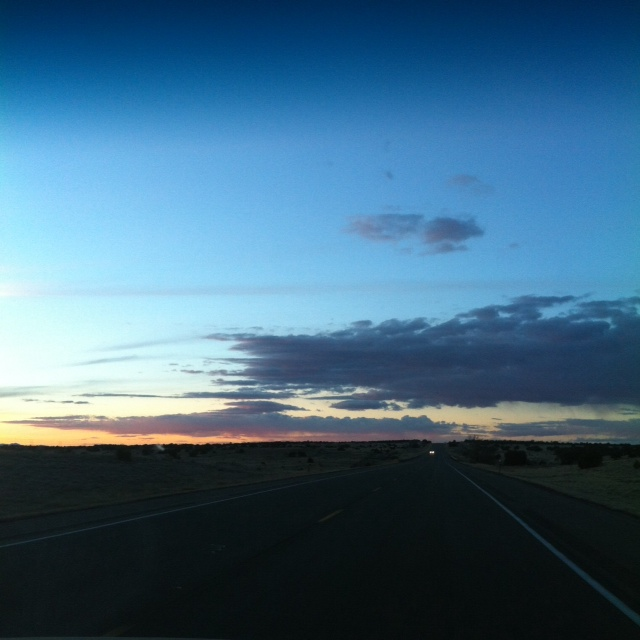 Just over that horizon lies Santa Fe, New Mexico!  This sunset was even more incredible in person!