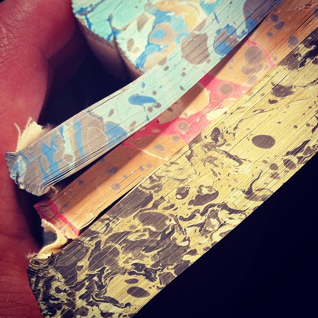 Stone marbled text blocks, edge treatments for some of our blank journals.