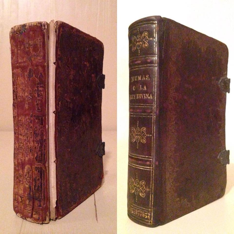 Before & After: Humas, o cinco libros de la ley divina, (Pentateuch, or five books of the divine law). Edited by Menasseh Ben Israel, 1655. Rebacking.