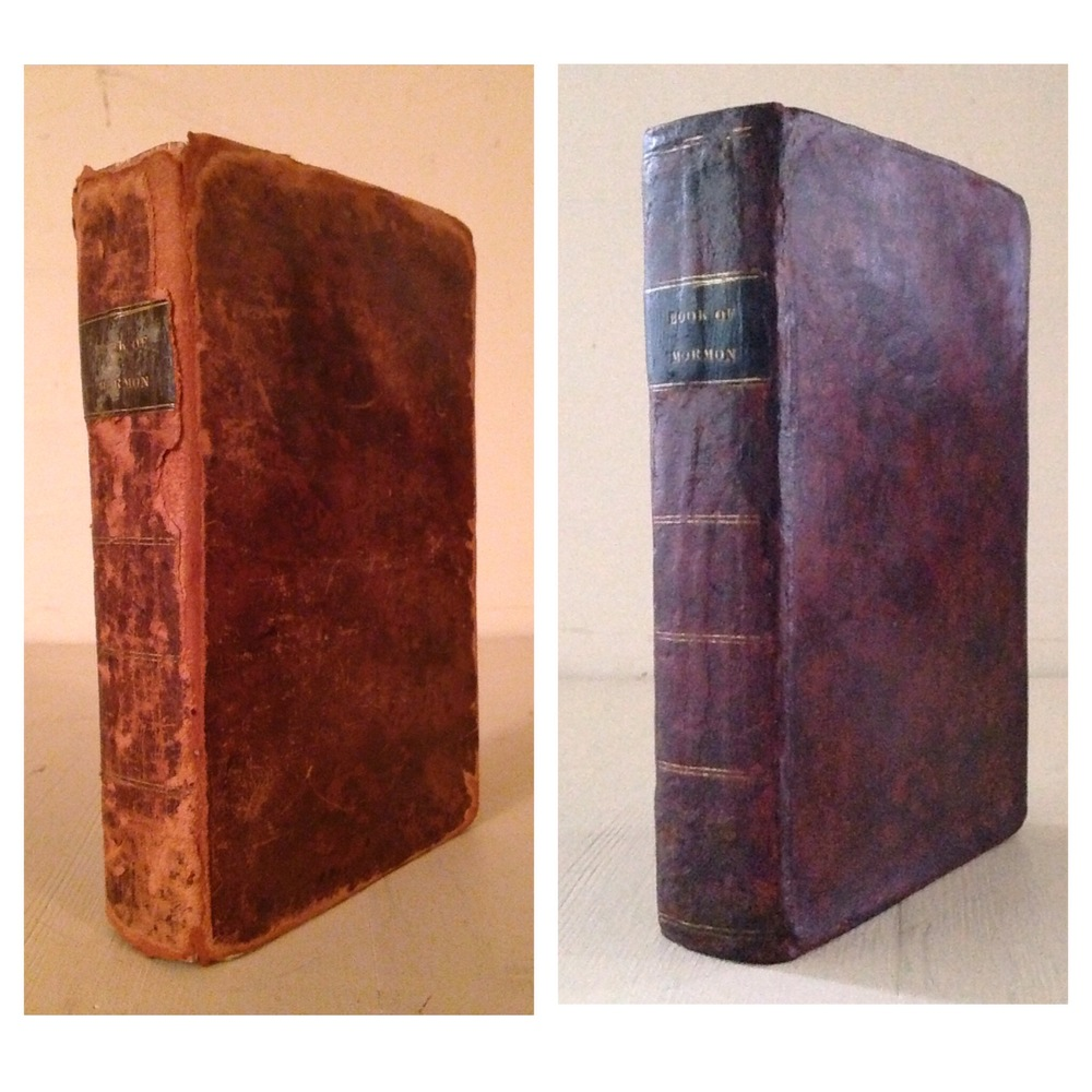 1830 Book of Mormon. Leather restoration.
