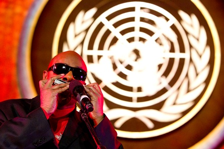 Stevie Wonder performs at the International Jazz Day Concert. Photo credit: UN/JC McIlwaine