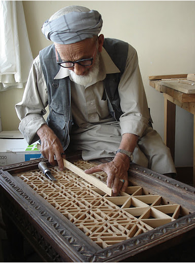 Master Abdul Hedy, expert wood-cutter and the Institute of Afghan Arts and Architecture's first teacher. Photo Credit: Turquoise Mountain Trust